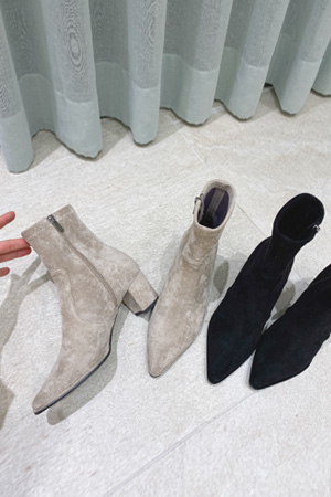 Mauve suede ankle boots [헤이에스 자체제작/베이지 품절]